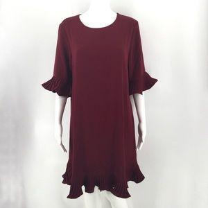NWT ALFANI Dress 10 Red Wine Ruffle Bell Sleeve